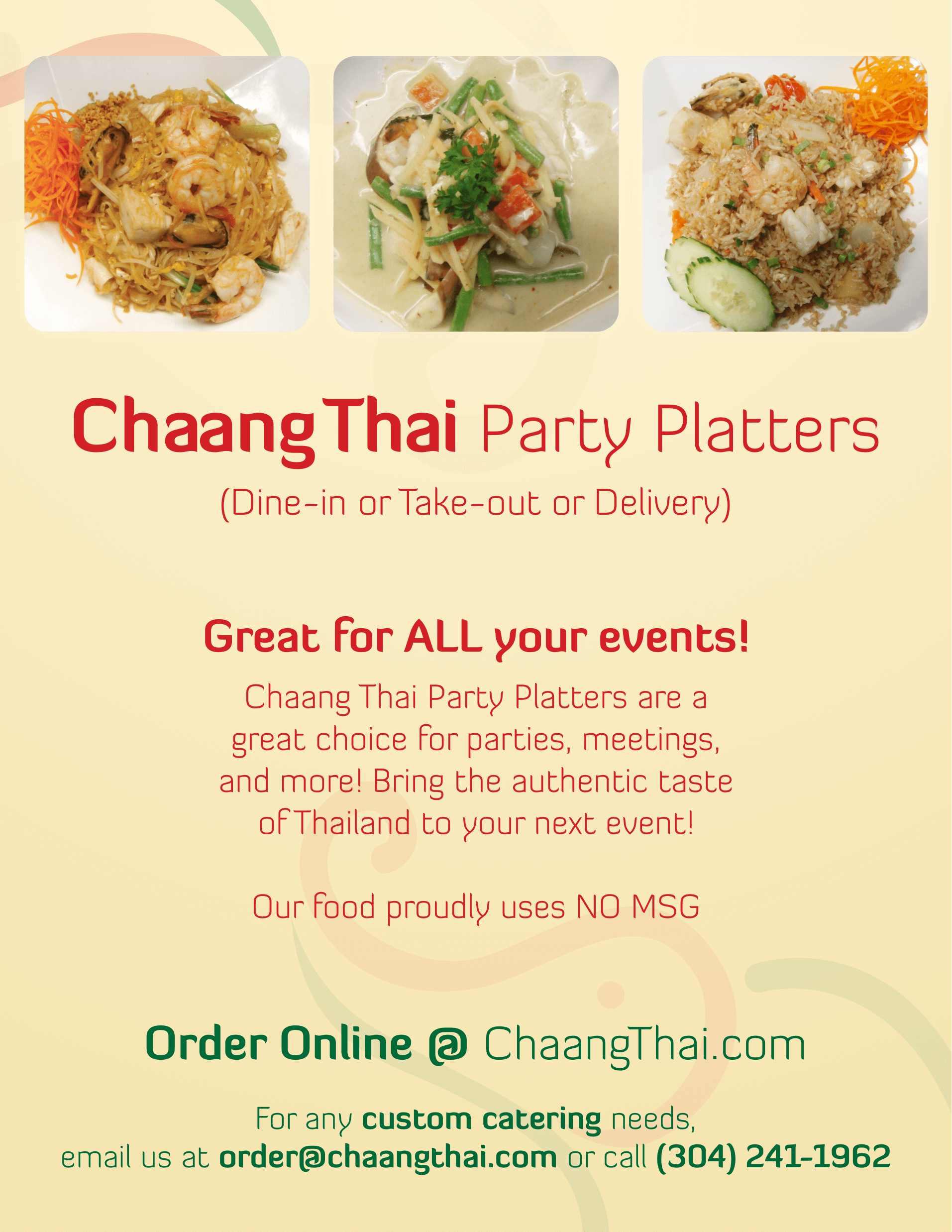 Chaang thai morgantown wv party platter catering menus forumfinder Images
